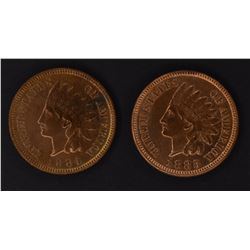 1883 & 84 INDIAN CENTS, CH BU