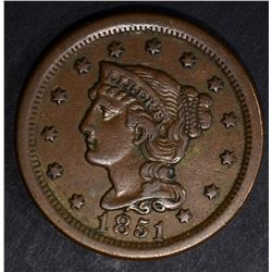 1851 LARGE CENT, XF