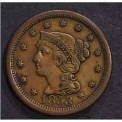 1853 LARGE CENT, N-15 XF++