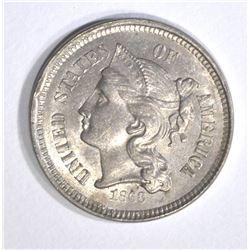 1868 3-CENT NICKEL, CH BU
