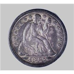 1853 ARROWS SEATED DIME, AU
