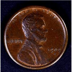 1909-S LINCOLN CENT, AU/BU