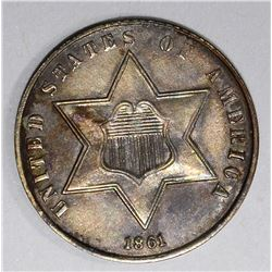 1861 3-CENT SILVER, BU