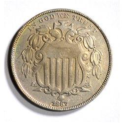 1867 WITH RAYS SHIELD NICKEL, AU