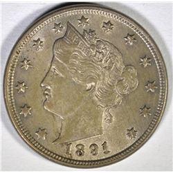 1891 LIBERTY NICKEL, AU
