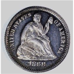1868 HALF DIME, SUPERB PROOF!