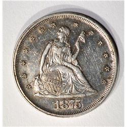 1875 TWENTY CENT PIECE, AU/BU