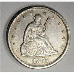 1875-CC TWENTY CENT PIECE, AU