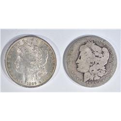 1883-O AG & 1889 CH BU MORGAN DOLLARS