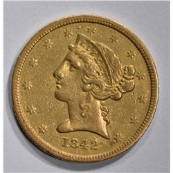 1842-D $5 GOLD LIBERTY SMALL DATE  AU