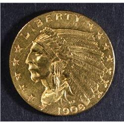 1908 GOLD $2 1/2 INDIAN HEAD  CH BU