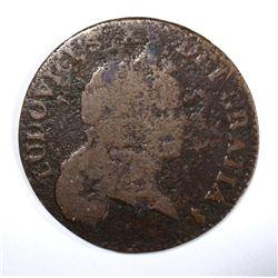 1721 6 DENIERS, VG/F