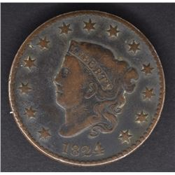1824/2 LARGE CENT, VF