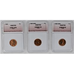 1940, 1965 SMS, 1966 SMS LINCOLN CENTS