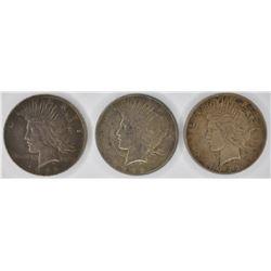 3- 1922 CIRC PEACE SILVER DOLLARS