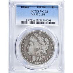 1886-S MORGAN DOLLAR VAM-2 S/S PCGS VG-08 TOP 100