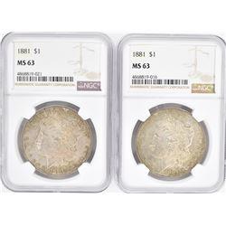 2-1881 MORGAN DOLLARS, NGC MS-63