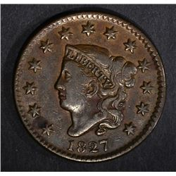 1827 LARGE CENT, VF/XF