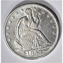1853 ARROWS-RAYS SEATED HALF DOLLAR