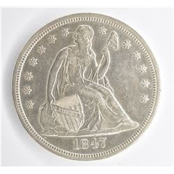 1847 SEATED DOLLAR, AU/BU