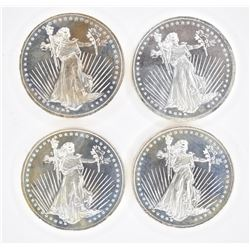 "4-""WALKING LIBERTY"" 1oz .999 SILVER ROUNDS"