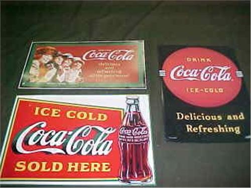 Three Reproduction Coke Tin Signs