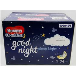 CASE OF 74 HUGGIES OVERNITES DIAPERS SIZE 4