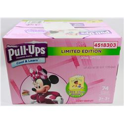 CASE OF 74 HUGGIES PULL UPS COOL & LEARN