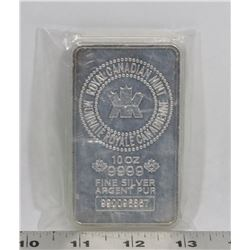 RCM 10 TROY OUNCE .999 SILVER BAR