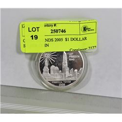 COOK ISLANDS 2005  $1 DOLLAR SILVER COIN