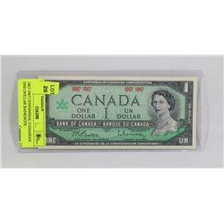 1867-1967 CENTENNIAL CANADIAN ONE DOLLAR BANKNOTE.