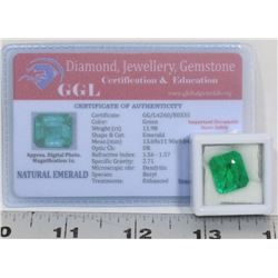 #18- NATURAL GREEN EMERALD GEMSTONE 11.98CT