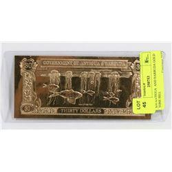 $30 ANTIGUA  AND BARBUDA GOLD TONE BILL