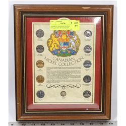 FRAMED CANADIAN NICKEL COLLECTION WITH SILVER
