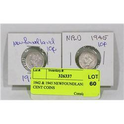 1942 & 1945 NEWFOUNDLAND  10 CENT COINS