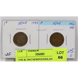 1942 & 1943 NEWFOUNDLAND ONE CENT COINS.