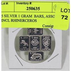 5 SILVER 1 GRAM  BARS, ASSORTED INCL RHINERCEROS
