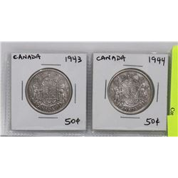 TWO CANADA FIFTY CENT SILVER COINS  1943  1944