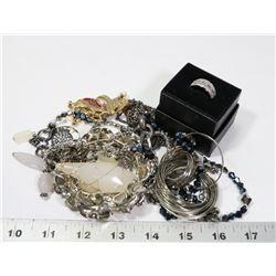 BAG OF FASHION JEWELLERY INCL LIA SOPHIA RING,