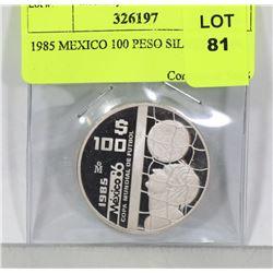 1985 MEXICO 100 PESO SILVER COIN.