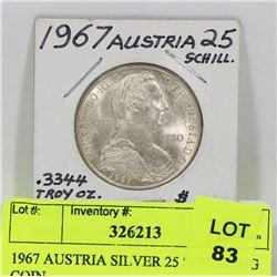 1967 AUSTRIA SILVER 25 SCHILLING COIN.