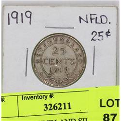 1919 NEWFOUNDLAND SILVER 25 CENT COIN.
