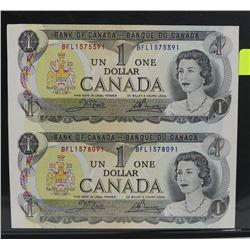 LOT OF 2 CANADA 1973 UNCUT DOLLAR BILLS,
