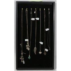 TRAY OF STERLING SILVER CHAINS WITH PENDANTS