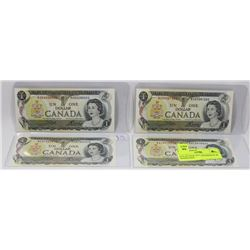 LOT OF FOUR 1973 CANADIAN $1.00 BANKNOTES.