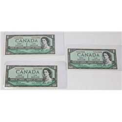 LOT OF THREE 1954 CANADIAN SEQUENTIAL $1.00 BANK