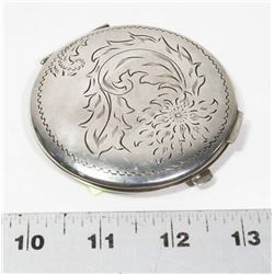 VINTAGE CARVED METAL COMPACT