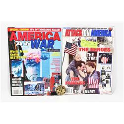 LOT OF TWO 9/11 MAGAZINES WITH 10 YEAR MEDALLION