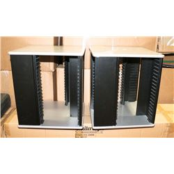 PAIR OF DVD STANDS, GREY AND BLACK, 80'S SLOTS