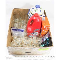 BOX W/12-PC GLASSWARE SET, FOOD STORAGE